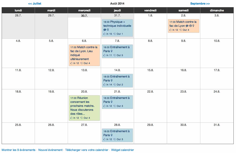 Exemple de calendrier mensuel